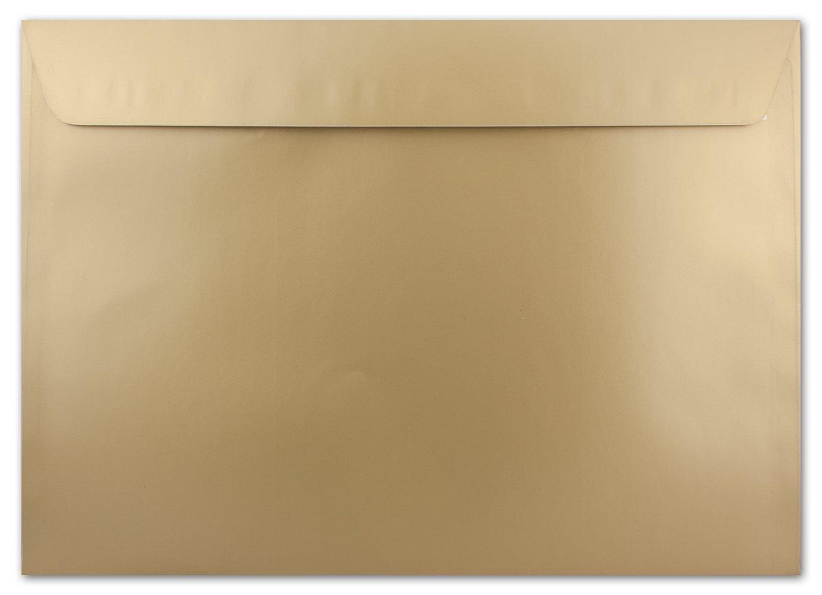 C4Buste, Gold–Metallic con effetto lucido, molto pesante e forte qualità–molto resistente–Fast knitterfrei–130G/MQ, 229X 324mm, chiusura adesiva C4 gold Neuser