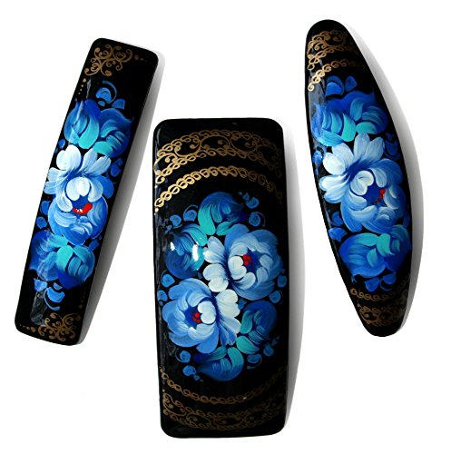 [3 pc set of Hand painted barrettes - Each item Unique - Traditional Folk Style Painting - Hair Clips - Blue color - 3 designs] (Puma New Wave)
