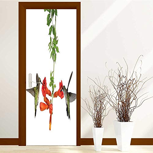 Vineyards Nectar (AmaPark Waterproof Door Stickers Two Hummingbirds Sip Nectar from A Trumpet Vine Blossoms time for Home Living Room W30 x H80 INCH)