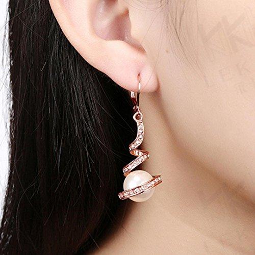 WensLTD Clearance! 1 Pairs Women Girls Cute Lady Crystal Rhinestone Earrings Elegant Jewelry (Rose Gold)