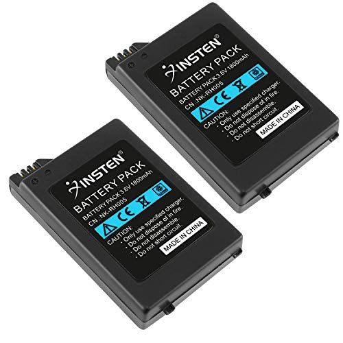 Insten 2Pcs High Capacity Replacement Battery Compatible with Sony PSP 1000 /FAT Playstation Portable 1000 Rechargeable Lithium Ion Batteries 2-Pack Set (NOT FOR PSP 2000 or - Battery Replacement Psp