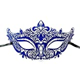 New Women Metal Mask Venetian Style Navy Blue Colorful Masquerade Mask Party