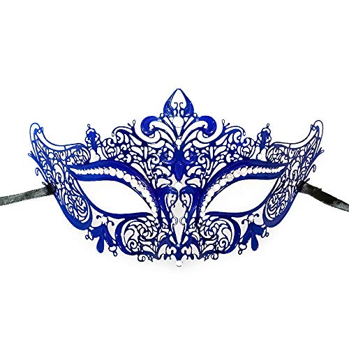 New Women Metal Mask Venetian Style Navy Blue Colorful Masquerade Mask Party -