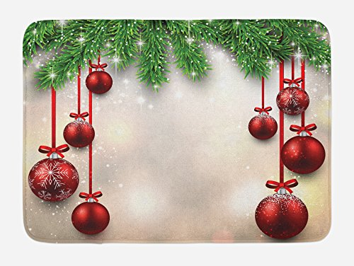 Ambesonne Christmas Bath Mat, Xmas Traditional Winter Season Theme Fir Twigs and Vibrant Balls Graphic Print, Plush Bathroom Decor Mat with Non Slip Backing, 29.5 W X 17.5 L Inches, -