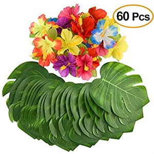 """Kuuqa 60 Pcs Tropical Party Decoration Supplies 8"""" Tropical Palm Leaves and Hibiscus Flowers, Simulation Leaf for Hawaiian Luau Party Jungle Beach Theme Table Decorations"""