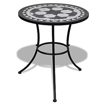 Anself Table mosaïque noire / blanche: Amazon.fr: Jardin