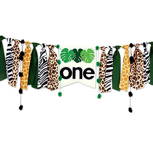 Handmade Tassel Garland Leopard Leaves Jungle Theme One First Birthday Party Wall Banner for Baby Girls Boys, Ins Style Wild One 1st Birthday Party High Chair Banner]()