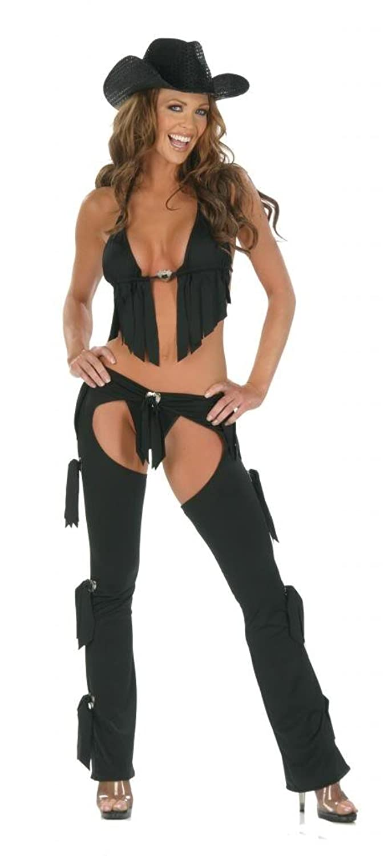 Nom de Plume Women's Sexy Lycra 3PC Cowgirl Chaps Costume