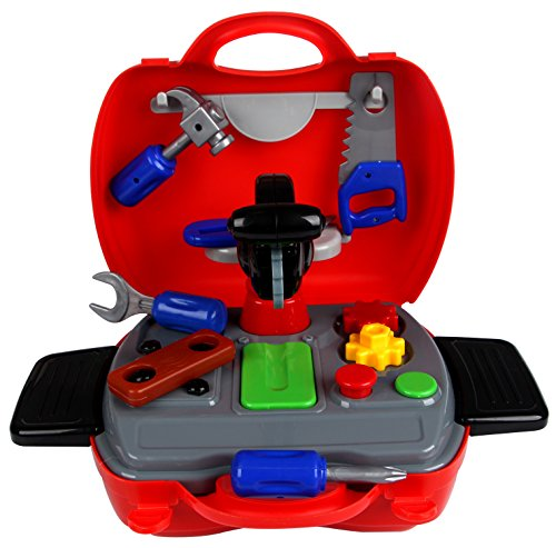 hierkryst Toddler Toys Tool Set Preschool in Toolbox Kids Toy Tool Box Plastic for Boys