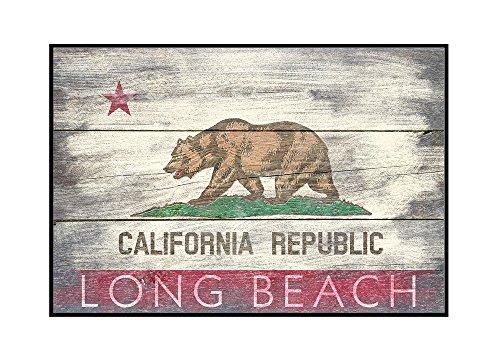 Long Beach, California - Rustic California State Flag