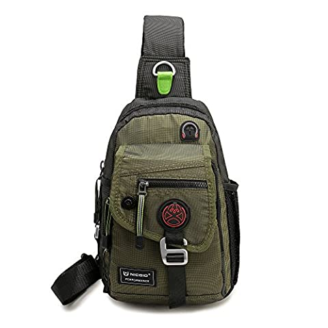 Nicgid Sling Bag Backpack Crossbody Bags For Ipad Tablet Outdoor Hiking(Army green)