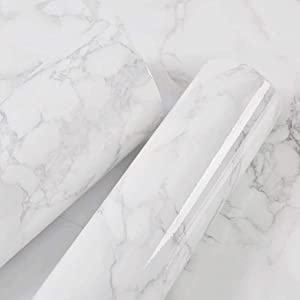 "BO123 (15.8"" X 196""/40cmX5m) Contact Paper Vinyl Contact Paper Self Adhesive Film Decorative Contact Paper for Kitchen Counter Top Cabinets Wardrobe Furniture Iridescent Glitter Wallpaper (Marble)"