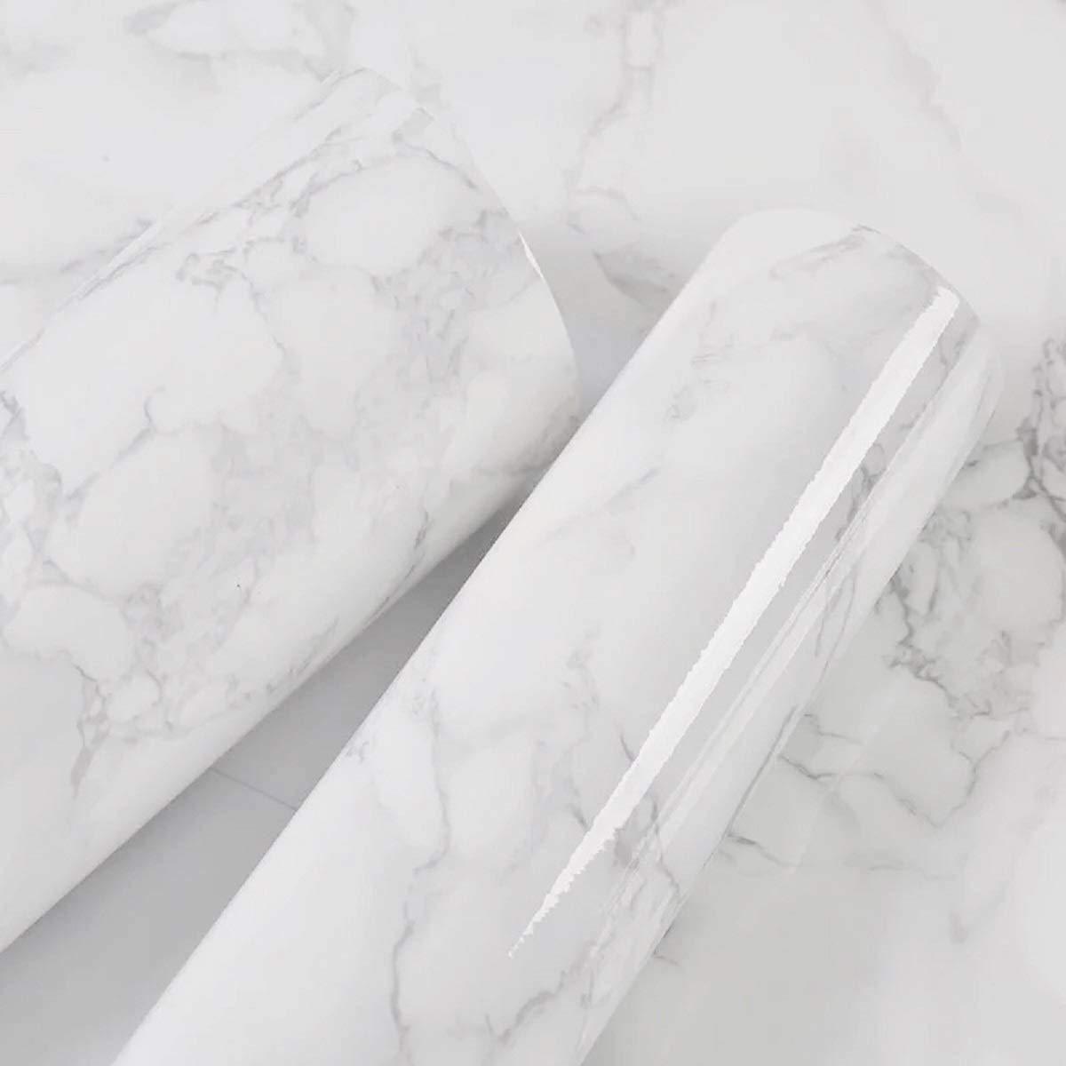 Papel de Contacto de m/ármol Gris Granito//Blanco de Vinilo de m/ármol Autoadhesivo Papel de Contacto Decorativo para encimeras gabinete Impermeable Estante Papel m/ármol Efecto 40 cm /× 1000 cm HOMD