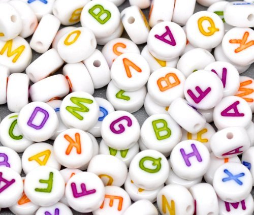 Round Coin Loose Beads - Rockin Beads Brand, 450 Mixed White Acrylic Alphabet /Letter