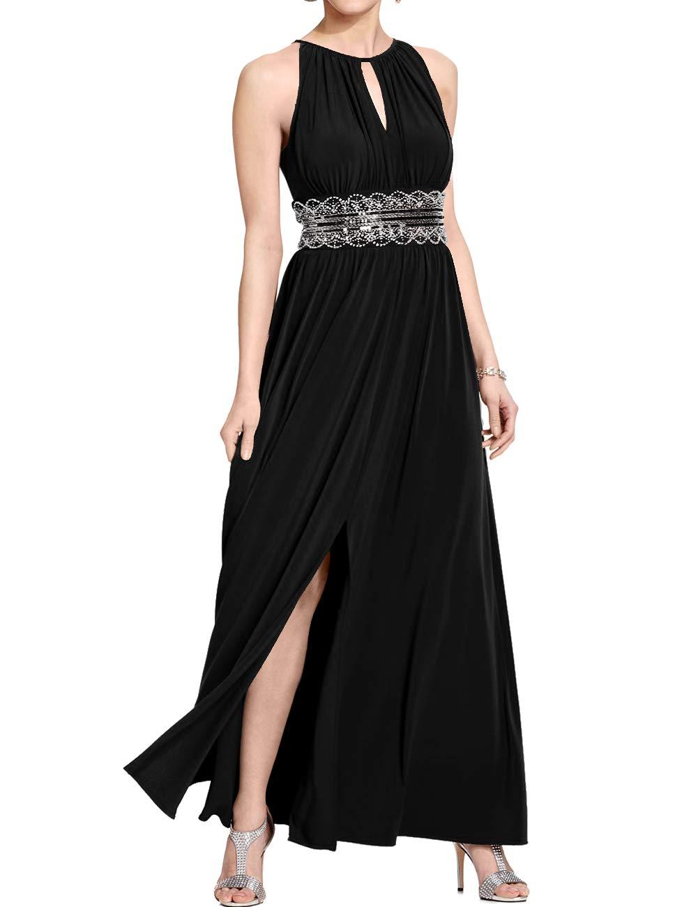 6e0cd4453c3b8 Halter Evening Dresses Long Prom Dresses Chiffon Bridesmaid Dresses Black  28W