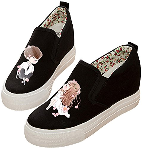 SATUKI Adult Women's Pull On Hidden Heel Wedge Casual Canvas Shoes Fashion Sneakers U