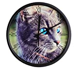 Cheap Luckly candy Cute Cat theme Background Super Silent Wall Clock Quiet Sweep Decorative Clocks (10Inch, Black4)