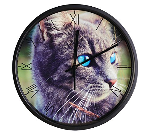 Luckly candy Cute Cat theme Background Super Silent Wall Clock Quiet Sweep Decorative Clocks (10Inch, Black4)