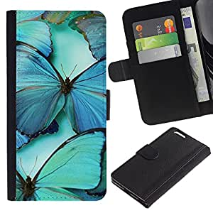 UberTech / Apple Iphone 6 PLUS 5.5 / Butterfly Teal Blue Nature Insect Wing / Cuero PU Delgado caso Billetera cubierta Shell Armor Funda Case Cover Wallet Credit Card
