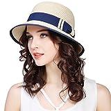 JOYEBUY Women Wide Brim Fedora Beach Sun Hat Straw Summer Packable Cap UPF50+ (A-Beige)
