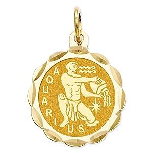 14k Gold Satin Polished Engraveable Aquarius Zodiac Scalloped Disc Charm Pendant (0.87 in x 0.59 in)