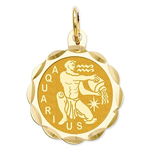 14k Gold Satin Polished Engraveable Aquarius Zodiac Scalloped Disc Charm Pendant (0.87 in x 0.59 in)