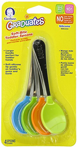 Gerber Graduates Soft-Bite Toddler Spoons in Assorted Colors, 4-count
