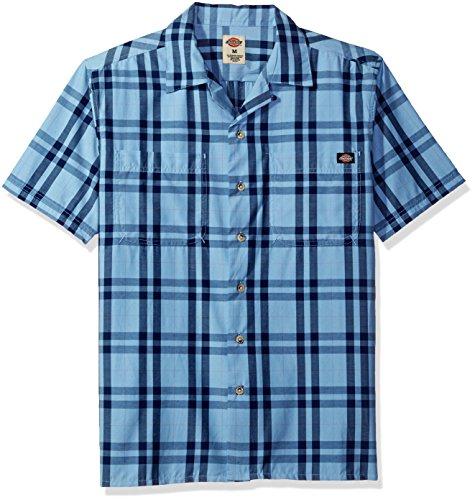 Dickies Men's Short Sleeve Camp Shirt, Executive Light Deep Blue, L ()