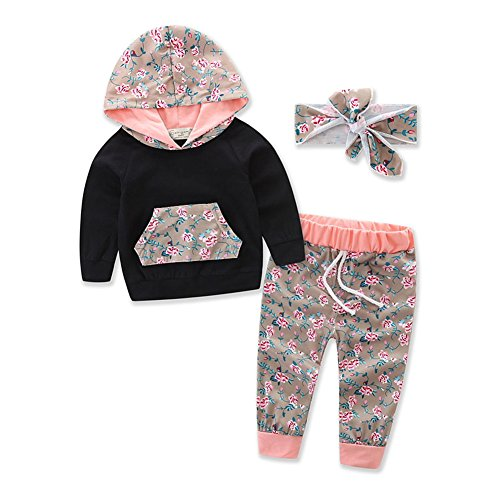 Infant 2 Piece Pant (Askwind Baby Girls Floral Hoodie+ Floral Pant Set Leggings 2 Piece Outfits (6 - 12 Months, Black3))