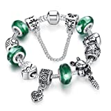 """BAMOER 2015 """"June New Arrival"""" 925 Silver Green Bead Animal Best Friend Charm Bracelet with Safety Chain for Women"""