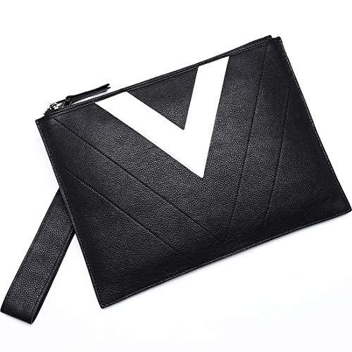 BABAMA Men & Women Clutch Bag Wallet Unisex Genuine Leather Large Wristlet Handbag Cowhide Designer Envelope Zip Purse ()