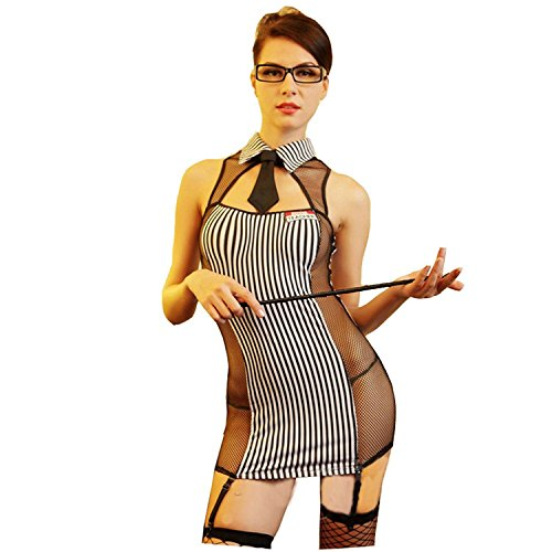 Women's Sexy Lingerie Teacher Outfit Secretary Suit Stripe Dress Slim Role Play Black White