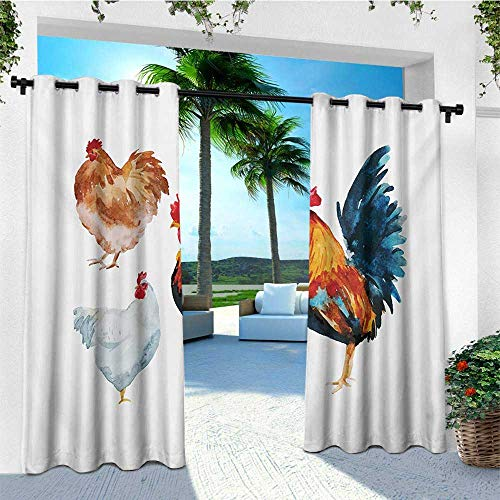 leinuoyi Chicken, Outdoor Curtain Pole, Watercolor Effect Poultry Design with Rooster and Hens Flightless Bird Illustration, Outdoor Patio Curtains W96 x L108 Inch Multicolor (Best Chicken Box Baltimore)