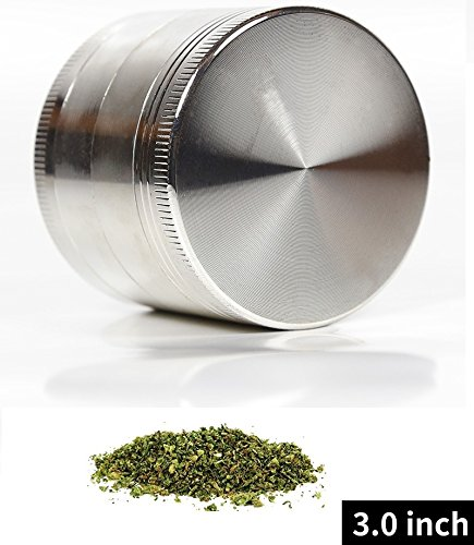 HERB CARE 3.0 Inch Large Herb Tobacco Weed Grinder 4 Piece Black 45 Teeth (SILVER)