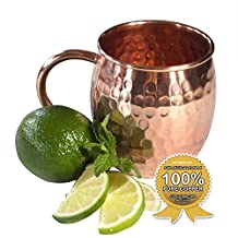Moscow Mule Full Copper Mug – Authentic Solid Pure All Copper Cup – 16oz Rounded Old Fashioned Design – Hand Hammered Finish – By Stubborn Mule
