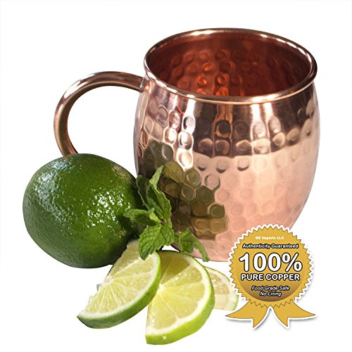 Moscow Mule Full Copper Mug - Authentic Solid Pure All Copper Cup - 16oz Rounded Old Fashioned Design - Hand Hammered Finish - By Stubborn Mule