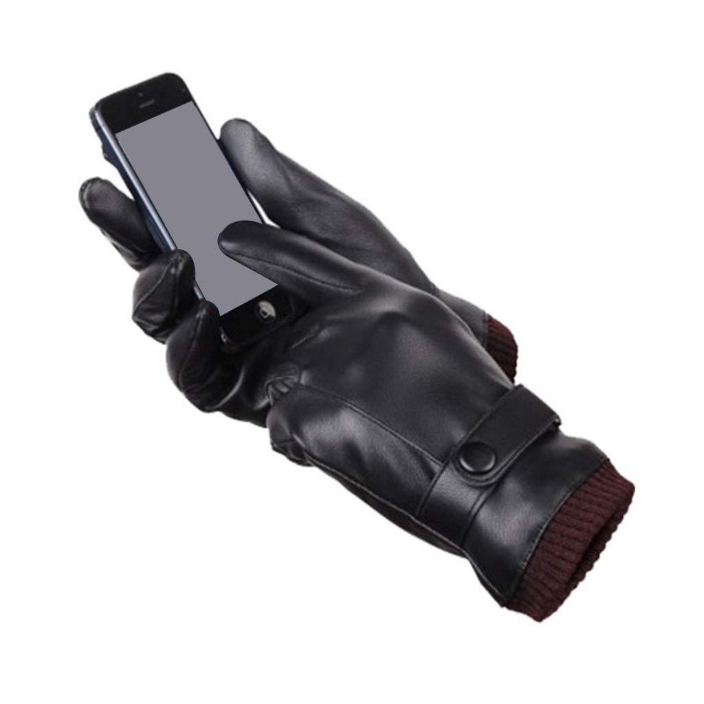 Caingmo in pelle artificiale con rivestimento termico e polsini regolabili a coste Guanti invernali da uomo
