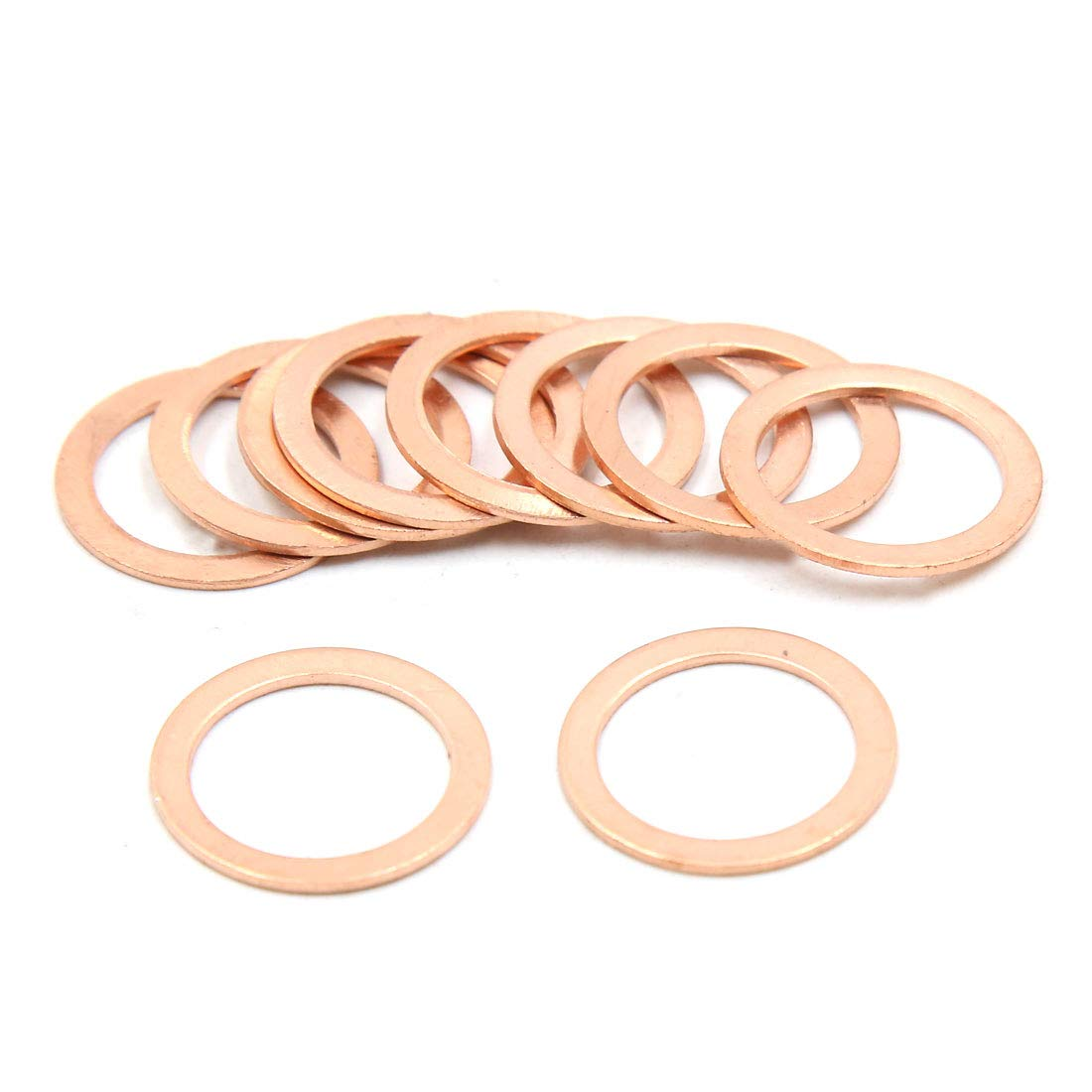 X AUTOHAUX Copper Flat Washers Car Engine Sealing Gaskets Plate Rings 17 x 23mm Dia 10pcs