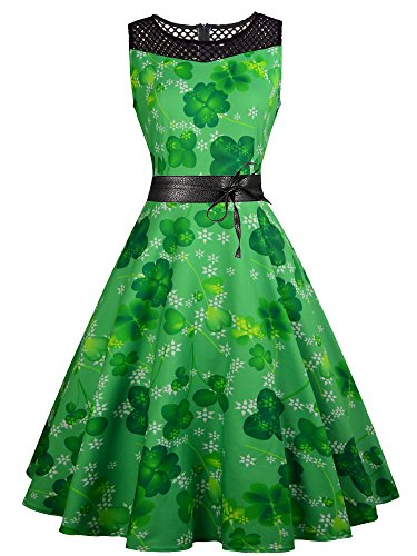 Angelaicos Womens ST Patrick's Costume Vintage Floral Party Swing Cocktail Dress (Green Leaf Clover, L) -