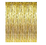 Set of 2 Shiny Gold Metallic Foil Fringe Door & Window Curtain Party Decoration 3' X 8' (36' X 96') 'Value Pack of 2'