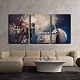 wall26 - 3 Piece Canvas Wall Art - Filmmaking Concept Scene with Dramatic Lighting - Modern Home Decor Stretched and Framed Ready to Hang - 16''x24''x3 Panels