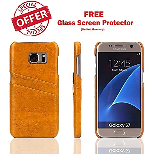 NEW GALAXY S7 Case Premium PU Leather card holder Case, Ultra Slim luxury handwear with 2 Card Slots with FREE 2.5D S7 Tempered Glass Screen Protector, Protect Sales