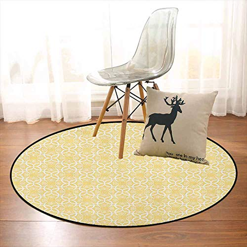 Yellow and White Multifunctional Round Carpet Ornate Floral Pattern with Swirls Curls Symmetrical Overlap Motifs for Bedroom Modern Home Decor D59 Inch Pale Yellow White