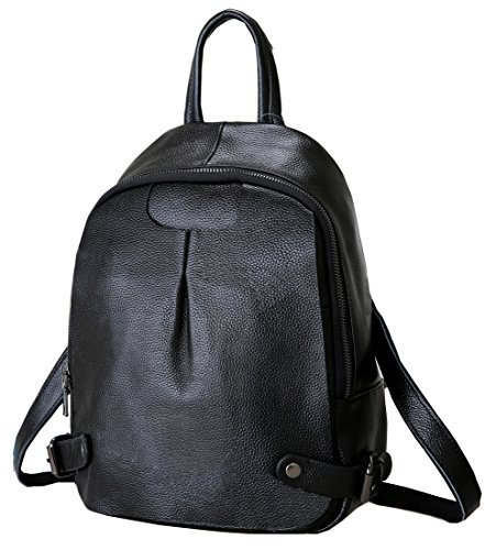 Heshe Leather Soft Women's Backpack Casual Daypack Double Shoulder Bags for Ladies and Girls (Black)