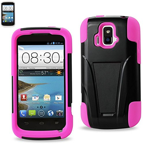Reiko Silicon Case and Protector Cover for ZTE SONATA 4G Z740G - Retail Packaging - Hot Pink Black