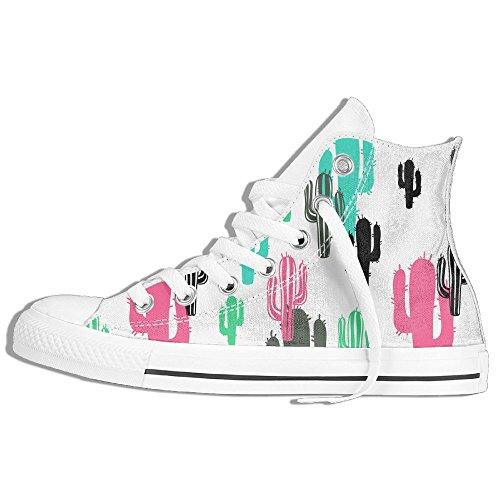 Classiche Sneakers Alte Scarpe Di Tela Anti-skid Cactus Modello Casual Da Passeggio Per Uomo Donna Bianco
