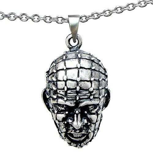 Halloween Horror Pinhead Hellraiser Pewter Pendant Stainless steel Chain necklace -