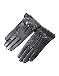 Oncefirst Men's Touchscreen Windproof Genuine Leather Driving Gloves Black