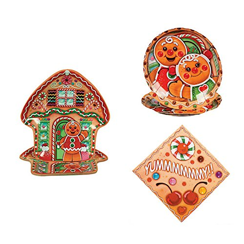 Christmas Holiday Party Supplies for 16 Guests; Bundle Includes 16 Gingerbread Shaped Dinner Plates, 16 Dessert Plates, and 16 Luncheon Napkins