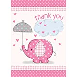 Baby : Umbrella Elephant Girl Baby Shower Thank You Notes w/ Envelopes (8ct)